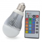 E27 5W 5-LED RGB Light Remote Control Lamp - Silver + White (85~265V)