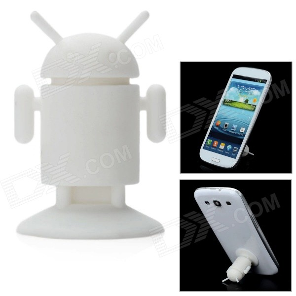 Cool Android Figure Style Suction Cup Stand Holder Support for Iphone 5 / Cell Phone / GPS - White - DXGadgets<br>Quantity 1 Piece Color White Material Silicone Compatible Models Iphone 5 Iphone 4S Iphone 3gs HTC Samsung Nokia etc. Application Cell phone stand Features Stylish and portable; Ideal for display viewing photos watching movies etc. Packing List 1 x Android figure suction cup stand<br>