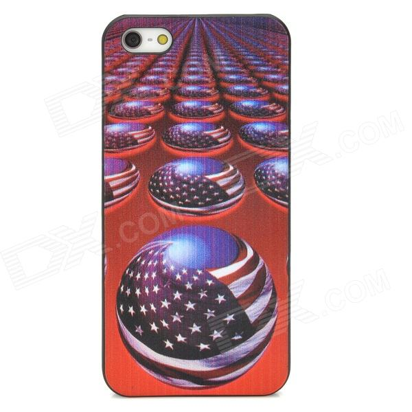 US Flag Ball Pattern Protective Back Case for Iphone 5 - Multicolored us flag pattern w rhinestones protective plastic back case for iphone 5c multicolored