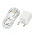 USB EU Plug Power Adapter + USB 8pin Lightning Data Cable - White