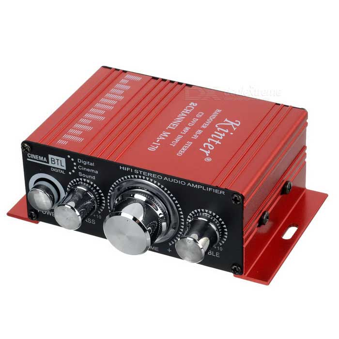 Mini Aluminum Alloy 2-Channel 100W Hi-Fi Stereo Home / Car Amplifier - Red (DC 12V) 5pcs lot max98400b 98400b stereo high power class d amplifier differential input power limiting and excellent emi performance