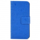 Cute Cartoon Style Protective PU Leather Case for Iphone 5 - Blue