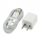 USB US Plug Power Adapter + USB 8pin Lightning Data Cable - White