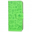 Cute Pattern Protective PU Leather Flip-Open Case for Iphone 5 - Green