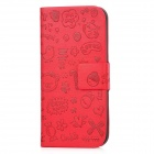 Cute Cartoon Style Protective PU Leather Case for Iphone 5 - Red