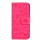 Cute Cartoon Style Protective PU Leather Case for Iphone 5 - Deep Pink