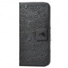 Cute Cartoon Style Protective PU Leather Case for Iphone 5 - Black