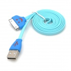 Smile Pattern USB Data & Charging Flash Flat Cable for iPhone / iPad / iTouch - Light Blue (100cm)