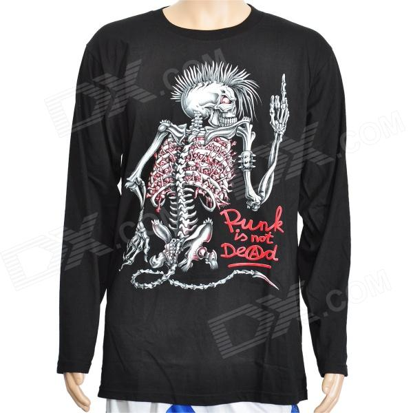 Cool Rock Skeleton Style Glow-in-the-Dark Long Sleeves T-Shirt ...