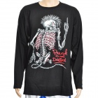Cool Rock Skeleton Style Glow-in-the-Dark Long Sleeves T-Shirt - Black (Size XL)