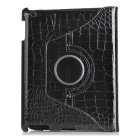 Elegant Pattern Protective Rotative PU Leather Case for Ipad 2 / 3 - Black