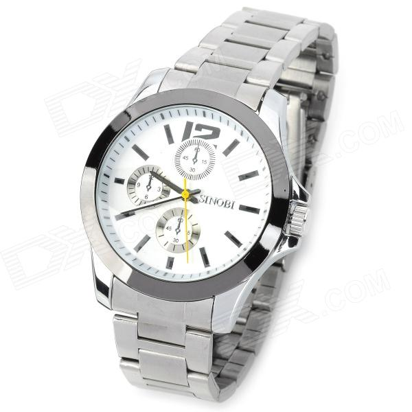 SINOBI 9123 Men's Stainless Steel Quartz Analog Waterproof Wrist Watch - White weide casual genuine watch luxury brand quartz sport watches stainless steel analog men larm clock relogio masculino schocker