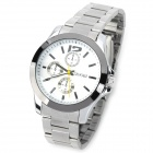 SINOBI 9123 Men's Stainless Steel Quartz Analog Waterproof Wrist Watch - White