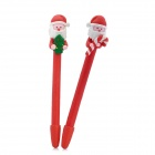 ZX-5696 Cute Santa Doll Polymer Clay Ballpoint Pens - Red + Green (2 PCS)