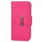 Square Pattern Protective PU Leather + PC Flip-Open w/ Buckle for iPhone 5 - Deep Pink