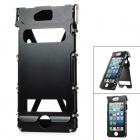 Protective 360 Degree Flip Open Cover Stainless Steel Case for iPhone 5 - Black
