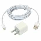 US Plug Power Adapter + Lightning 8-Pin Male to USB Male Data Cable Set for iPhone 5 - White
