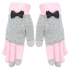 Rabbit Hair Capacitive Screen Touching Hand Warmer Gloves - Pink + Grey