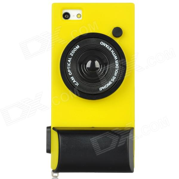 Camera Style PC Back Case for Iphone 5 - Yellow + Black