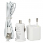 AC/Car Charger Charging Adapter + USB 8-Pin Lightning Data / Charging Cable for iPhone 5 - White