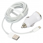 Car Charger + Lightning 8-Pin Male to USB Male Data Cable Set for iPhone 5 - White