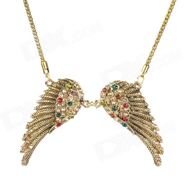 Fashion Women's Angel Wing Style Necklace w/ Colorful Crystal- Golden fashion women s angel wing style necklace w colorful crystal golden