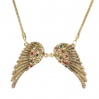 Fashion Women's Angel Wing Style Necklace w/ Colorful Crystal- Golden
