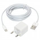 EU Plug Power Adapter + Lightning 8-Pin Male to USB Male Data Cable Set for iPhone 5 - White