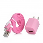 USB Power Charger Adapter w/ 8-Pin Lightning Male Flat Cable for iPhone 5 - Pink (US Plug)