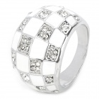 Albronze Zircon Magic Square Finger Ring - White + Silver (US10)