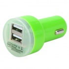 Dual USB Car Cigarette Lighter Charger for Ipad / USB Products - Green (DC 12-24V)