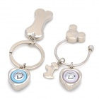 Cute Dog & Bone & Heart Shape Voice I LOVE YOU Keychain for Couples - Silver (2 PCS)
