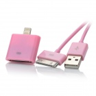 USB to Apple 30pin Data Cable + 30pin Female to 8pin Lightning Male Adapter for iPhone 5 - Pink