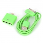 USB Data / Charging Cable + 30-Pin Female to 8-Pin Lightning Male Adapter for iPhone 5 / 4 - Green