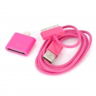 USB Data/Charging Cable + 30-Pin Female to 8-Pin Lightning Male Adapter for iPhone 5 / 4 - Deep Pink