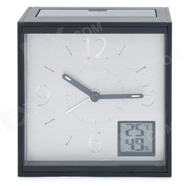 ELAH NHAC 001-A Multi-Function ABS Clock w/ Alarm + Snooze + Temperature + Humidity - Black (1 x AA)