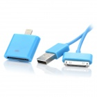 USB to Apple 30pin Data Cable + 30pin Female to 8pin Lightning Male Adapter for iPhone 5 - Blue