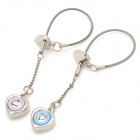 Cute Heart Shape Voice I LOVE YOU Keychain for Couples - Silver (2 PCS)