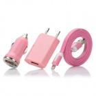 USB to 8pin Lightning Flat Cable + USB Car Charger + USB EU Plug Power Adapter Set - Pink