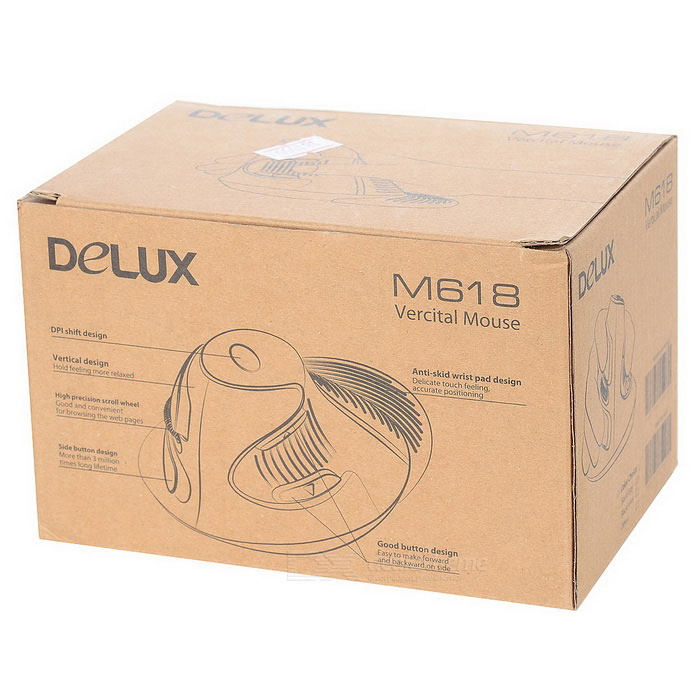 DELUX M618GX 2.4GHz Wireless Vertical Laser Mouse - Black + Grey (2 x AAA)