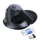 DELUX M618 2.4GHz Wireless Vertical Laser Mouse - Black + Grey (2*AAA)
