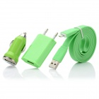 USB to 8pin Lightning Flat Cable + USB Car Charger + USB EU Plug Power Adapter Set - Green