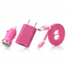USB 8pin Lightning Flat Cable + USB Car Charger + USB EU Plug Power Adapter Set - Deep Pink