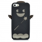 Cute Cartoon Pattern Protective Silicone Back Case w/ Screen Protector for Iphone 5 - Black