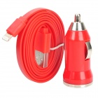 Car Cigarette Powered Charging Adapter + 8-Pin Lightning Flat Cable for iPhone 5 / iPad 4 - Red