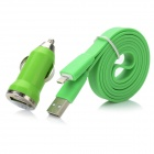 USB to 8pin Lightning Flat Cable w/ USB Car Charger - Green (100cm)