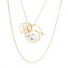 Sieve Style Dual-Chain-Alloy + Rhinestone Necklace - Golden