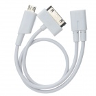 U2-180 Micro USB Female to Micro USB Male + 30pin Adapter Cable for iPhone / iPad / iPod - White