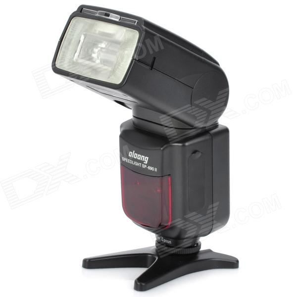 OLOONG SP690II 2.0 LCD Speedlit w/ 1-LED for Canon 600D / 60D / 7D - Black (4 x AA) rat model ii folder sp black handle