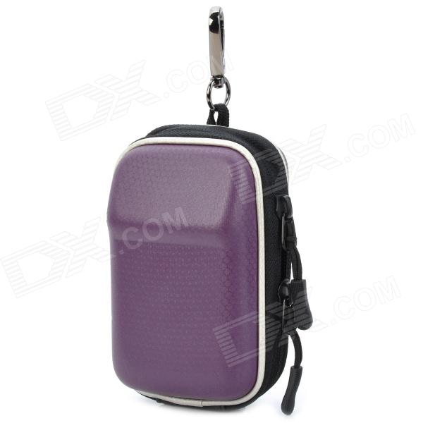 Fashion Protective PU Leather Case Bag w/ Zipper + Carabineer Clip for Digital Camera - Purple